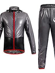 cheap -WOSAWE Men's Cycling Jacket with Pants Bike Raincoat Clothing Suit Waterproof Rainproof Reflective Strips Sports Solid Color Mesh Black / Green / Blue Mountain Bike MTB Road Bike Cycling Clothing