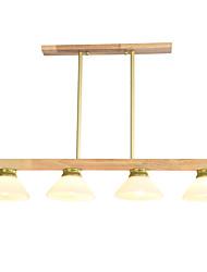 cheap -Ecolight 4-Light 85 cm Cool Chandelier Wood Bamboo Glass Sputnik Island Wood Nature Inspired Retro Vintage 110-120V 220-240V