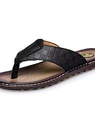 cheap -Men's Comfort Shoes Cowhide Summer Casual Slippers & Flip-Flops Waterproof Black / Brown