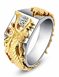 cheap -Women's Ring Cubic Zirconia 1pc Gold Alloy Circular Trendy Elegant Wedding Jewelry Fancy Dragons Heart