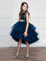 cheap -Princess Asymmetrical Wedding / Party / Pageant Flower Girl Dresses - Satin / Tulle Sleeveless Jewel Neck with Belt / Crystals / Rhinestones