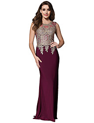 cheap -Mermaid / Trumpet Minimalist Formal Evening Dress Jewel Neck Sleeveless Sweep / Brush Train Jersey with Crystals Appliques 2020