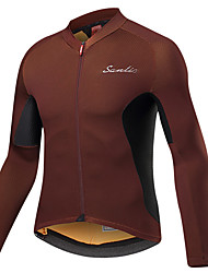 cheap -SANTIC Men's Long Sleeve Cycling Jersey Coffee Bike Jersey Top Mountain Bike MTB Road Bike Cycling UV Resistant Breathable Moisture Wicking Sports Winter Polyester Elastane Terylene Clothing Apparel