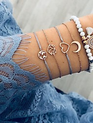 cheap -5pcs Women's Bead Bracelet Loom Bracelet Pendant Bracelet Layered Maps Moon Heart European Casual / Sporty Ethnic Boho Cord Bracelet Jewelry Gold For Gift Daily Street Holiday Work