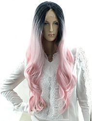 cheap -Wavy Body Wave Beyonce Layered Haircut Lace Front Wig Pink Long Black / Pink Synthetic Hair 16-24 inch Women's Waterfall Party Women Pink