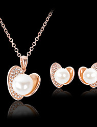 cheap -Women's Stud Earrings Pendant Necklace 3D Heart Stylish Classic Imitation Pearl Rhinestone Gold Plated Earrings Jewelry Gold For Daily Work 1 set
