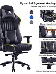 cheap -KILLABEE Big and Tall 400lb Memory Foam Gaming Chair Metal Base - Adjustable Tilt Back Angle and 3D Arms Ergonomic High-Back Leather Racing Executive...