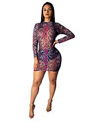 cheap -Women's Basic Loose Bodycon Dress - Geometric Print Turtleneck Blue Red Green S M L XL