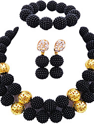 cheap -Women's Necklace Earrings Bracelet Layered Seed Pearls Precious Fashion Elegant Africa Pearl Earrings Jewelry Pink / Turquoise / Hot Pink For Wedding Party Gift Daily Festival 1 set