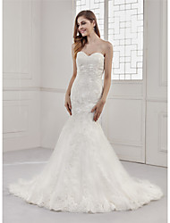 cheap -Mermaid / Trumpet Sweetheart Neckline Court Train Lace / Satin / Tulle Strapless Sexy / Beautiful Back Made-To-Measure Wedding Dresses with Appliques / Lace 2020