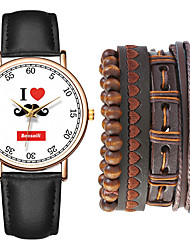 cheap -Men's Sport Watch Quartz Gift Set Leather Black / Brown / Chocolate No Chronograph Cute Creative Analog New Arrival Fashion - Black Brown Coffee One Year Battery Life