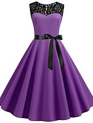 cheap -Women's Vintage Sheath Dress - Solid Colored Patchwork Purple Wine Light Blue L XL XXL
