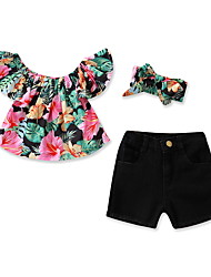 cheap -Baby Girls' Active / Basic Floral Print Short Sleeve Short Cotton Clothing Set Black / Toddler