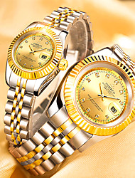 cheap -Couple's Dress Watch Quartz Stainless Steel Silver / Gold 30 m Water Resistant / Waterproof Calendar / date / day Creative Analog Classic Fashion - Gold Black Blue One Year Battery Life