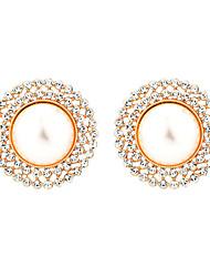 cheap -Women's Cubic Zirconia Stud Earrings Hoop Earrings Earrings Classic Vintage European Imitation Pearl Earrings Jewelry Gold / Silver For Daily Holiday Street Work Festival 1 Pair