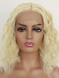 cheap -Synthetic Lace Front Wig Natural Wave Lily Middle Part Lace Front Wig Blonde Short Light Blonde Synthetic Hair 8 inch Women's Heat Resistant Women Side Part Blonde / Glueless