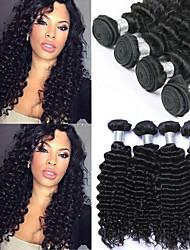 Недорогие -6 Связок Бразильские волосы Крупные кудри Не подвергавшиеся окрашиванию 300 g Человека ткет Волосы Пучок волос One Pack Solution 8-28inch Естественный цвет Ткет человеческих волос / Без запаха