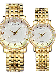cheap -Couple's Steel Band Watches Quartz Stainless Steel Silver / Gold / Rose Gold 30 m Water Resistant / Waterproof Casual Watch Cool Analog Casual Fashion - Gold Silver Rose Gold One Year Battery Life
