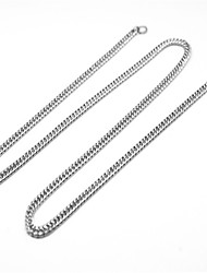 cheap -Men's Women's Chain Necklace Twisted Lucky Simple Classic Trendy Fashion Stainless Steel Silver 60 cm Necklace Jewelry 1pc For Gift Daily Carnival Street Club