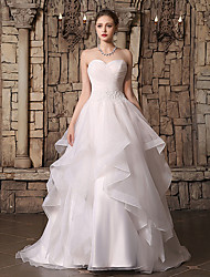 cheap -Ball Gown Sweetheart Neckline Court Train Lace / Organza Strapless Made-To-Measure Wedding Dresses with Beading / Cascading Ruffles / Side-Draped 2020