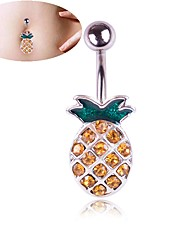 cheap -Navel Ring / Belly Piercing Trendy Women's Body Jewelry For Carnival Festival Rhinestone Alloy Pineapple Silver 1pc