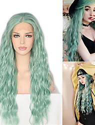 cheap -Synthetic Wig / Synthetic Lace Front Wig Wavy / Loose Curl Jenner Style Middle Part Lace Front Wig Green Mint Green Synthetic Hair 26inch Women's Classic / Synthetic / Color Gradient Green Wig Long