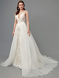 cheap -A-Line Wedding Dresses Plunging Neck Sweep / Brush Train Lace Organza Sleeveless See-Through with Lace 2020