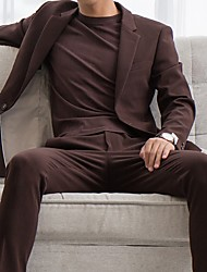 cheap -Brown / Black Solid Colored Slim Fit Cotton Suit - Notch Single Breasted One-button