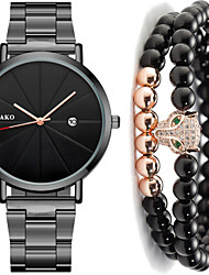 cheap -Men's Steel Band Watches Quartz Gift Set Minimalist Calendar / date / day Stainless Steel Black / Silver / Rose Gold Analog - Rose Gold Black / Rose Gold Black One Year Battery Life / Chronograph
