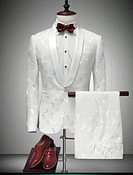 cheap -Tuxedos Standard Fit Shawl Collar Single Breasted One-button Cotton / Polyester / Cotton Blend Floral / Solid Colored