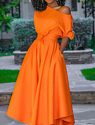 cheap -Women's Swing Dress Short Sleeve Solid Color Ruched One Shoulder Elegant Going out Puff Sleeve Kentucky Derby Orange M L XL XXL / Maxi