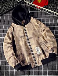 cheap -Men's Track Jacket Long Sleeve Cotton Breathable Running Sportswear Plus Size Jacket Athleisure Wear Khaki Black / White Activewear Inelastic