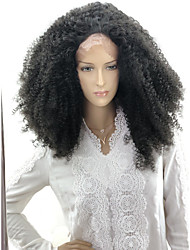 cheap -Afro Curly Spiral Curl Asymmetrical Lace Front Wig Medium Length Black#1B Synthetic Hair 24 inch Women's Party Women African American Wig Black