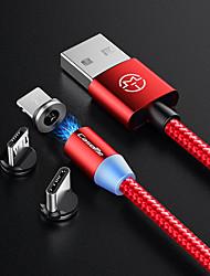 Недорогие -Кейсме Android магнитный кабель зарядного устройства нейлоновой телефон зарядки микро USB светодиодный 1,0 м (3 фута) для Samsung / Huawei / Sony / Xiaomi / OPPO / VIVO