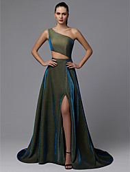 cheap -A-Line Sparkle Green Prom Formal Evening Dress One Shoulder Sleeveless Court Train Sequined with Split Front 2020