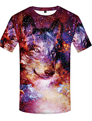 cheap -Men's Plus Size 3D Animal Print T-shirt Basic Daily Wear Round Neck Red / Short Sleeve