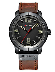 cheap -CURREN Men's Dress Watch Japanese Quartz Fashion Water Resistant / Waterproof Calendar / date / day Casual Watch Analog Black Yellow Red / Leather