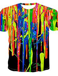 cheap -Men's Graphic Simulation T-shirt Print Tops Round Neck Rainbow