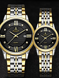 cheap -Couple's Dress Watch Quartz Stainless Steel Silver / Gold 30 m Water Resistant / Waterproof Calendar / date / day Casual Watch Analog Classic Fashion - Gold White Black One Year Battery Life