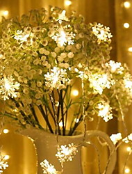 cheap -3m Snow Flakes String Lights 20 LEDs Warm White Christmas New Year Party Bedroom Decorative AA Batteries Powered 1 set