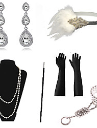 cheap -The Great Gatsby Necklace Earrings Bracelet Retro Vintage 1920s The Great Gatsby Artificial feather Costume Accessory Sets Gloves Necklace For Party / Cocktail Festival Halloween Carnival Women's