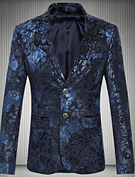 cheap -Men's Plus Size Blazer, Geometric Shirt Collar Polyester Wine / Navy Blue / Slim