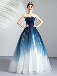 cheap -Ball Gown Strapless Floor Length Tulle Color Block / Blue Prom / Quinceanera Dress with Pleats 2020