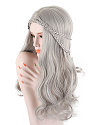 cheap -Synthetic Wig Body Wave Scarlett Middle Part Wig Long Grey Synthetic Hair 26 inch Women's Adjustable Heat Resistant Easy dressing Gray