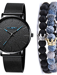 cheap -Men's Steel Band Watches Quartz Gift Set Classic Chronograph Analog Golden+Black Black / Blue Rose Gold / One Year / Stainless Steel