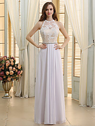 cheap -A-Line Jewel Neck Floor Length Chiffon / Lace Regular Straps Wedding Dresses with Lace / Sashes / Ribbons / Beading 2020
