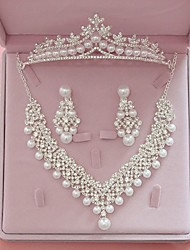 cheap -Women's Clear Ivory Bridal Jewelry Sets Crown Classic Fashion Imitation Pearl Rhinestone Earrings Jewelry White For Wedding Party Engagement 1 set