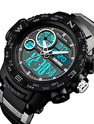 cheap -SKMEI Men's Digital Watch Digital Casual Water Resistant / Waterproof Rubber Black Digital - Black Red Blue / Calendar / date / day / Stopwatch / Noctilucent