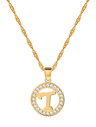 cheap -Women's Clear AAA Cubic Zirconia Pendant Necklace Necklace Charm Necklace X Letter Simple Fashion 18K Gold Plated Brass Platinum Plated Black Silver Rose Gold 55 cm Necklace Jewelry 1pc For