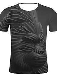 cheap -Men's Event / Party Casual Street chic / Exaggerated Plus Size Cotton T-shirt - Striped / 3D / Animal Print Round Neck Black
